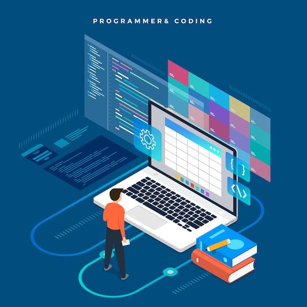 等尺性概念プログラマとコーディング。図。ウェブサイトのレイアウト。 Premiumベクター