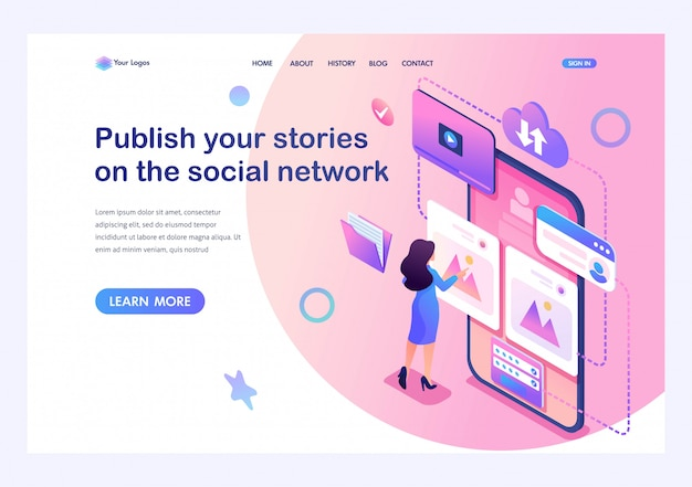 Isometric concept publish your stories on the social network,a young girl puts her photos on the internet. training of a young man. template landing page for website Premium Vector
