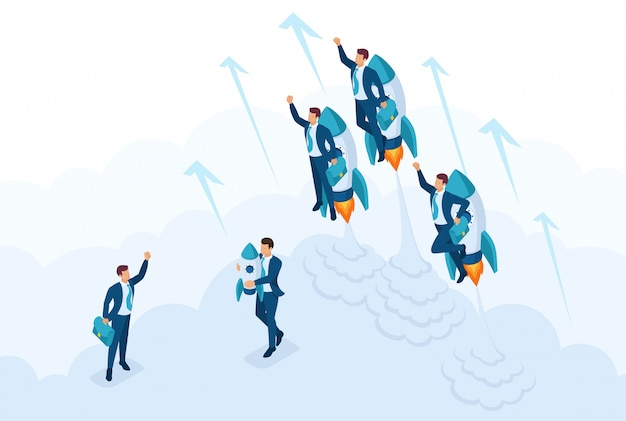 Isometric the concept race for leadership, competition of young successful businessman. concept for web design Premium Vector