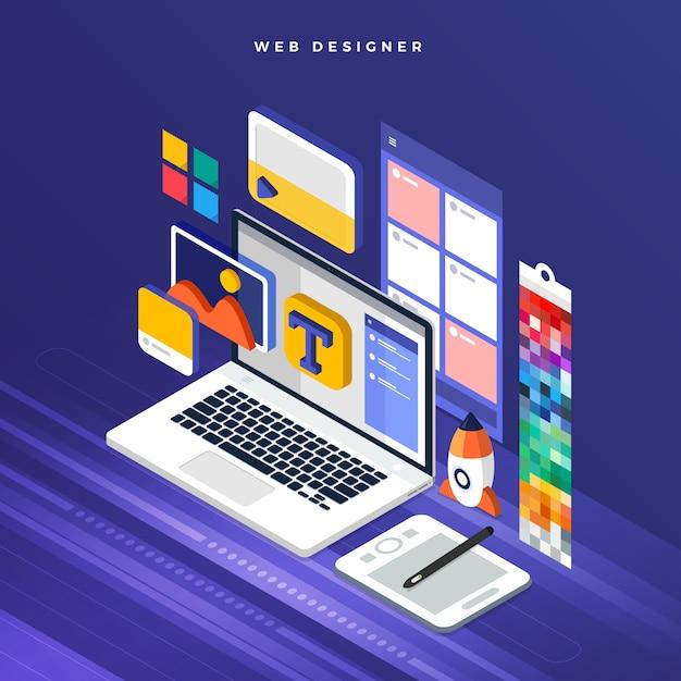 等尺性コンセプトweb er。図。ウェブサイトのレイアウトデザイン。 Premiumベクター