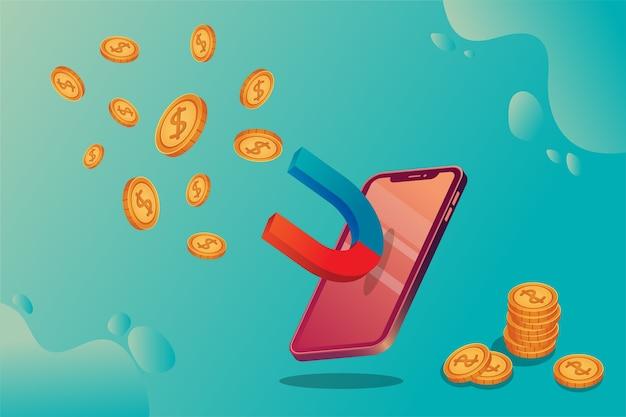 Изометрическая концепция со смартфоном и деньгами Premium векторы