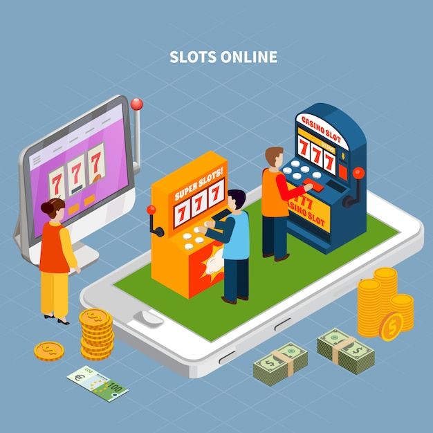 Isometric concept with smartphone and people playing game machines online 3d vector illustration Free Vector