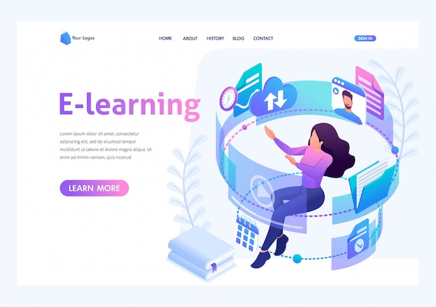 Isometric concept young girl in the process of learning through the internet, watching educational videos. template landing page for website Premium Vector