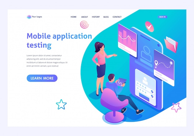 Isometric concept young people are engaged in testing the mobile application, the work of the program. template landing page for website Premium Vector