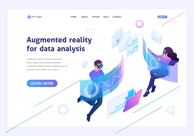 Isometric concept young people use augmented reality and virtual glasses for data analysis.template landing page for website Premium Vector
