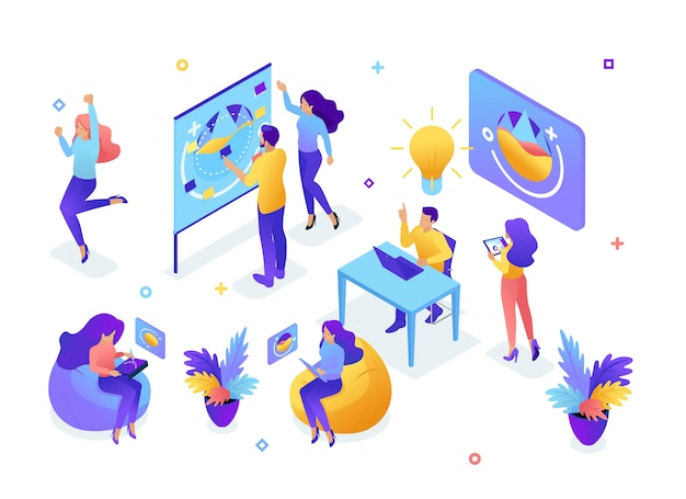 Isometric concept of a young team, teamwork, creating ideas, employees develop the , brainstorming, startup. the concept of web design Premium Vector