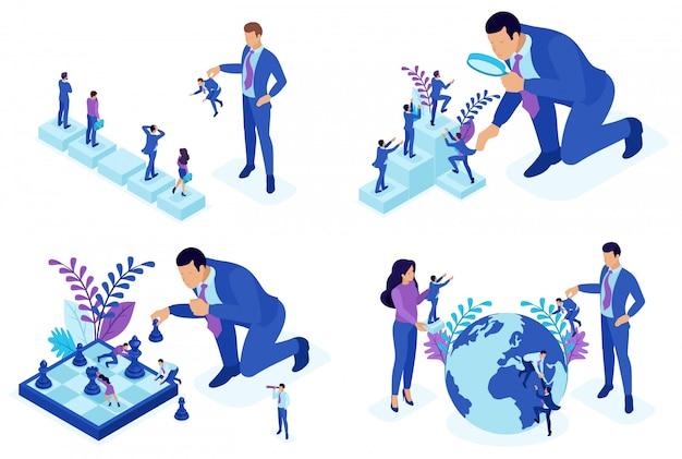 Изометрические концепции отбора сотрудников, развития карьеры, продвижения по службе. Premium векторы
