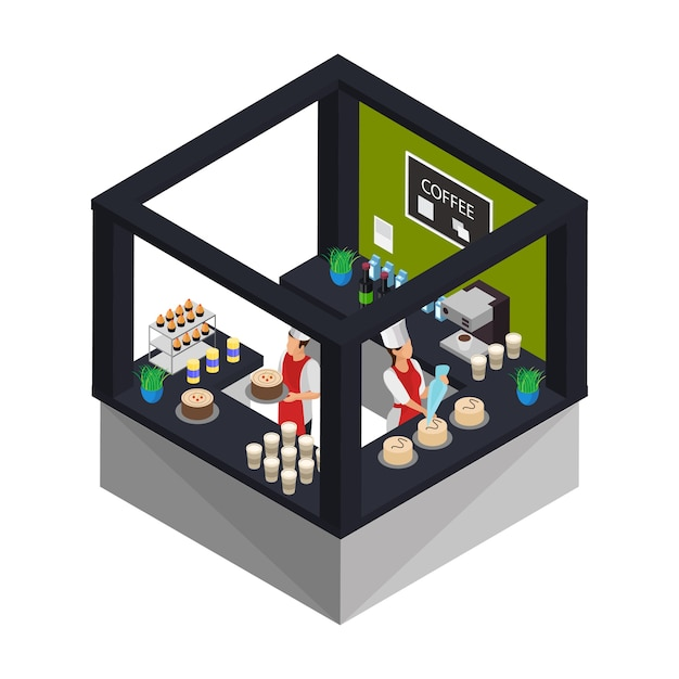 Concetto di pasticceria isometrica con i lavoratori che cucinano Vettore gratuito