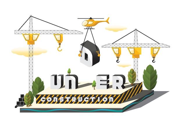 Isometric under construction 3d model vector illustration Vector