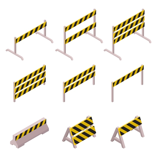 Isometric under construction barrier set isolated on white background Premium Vector