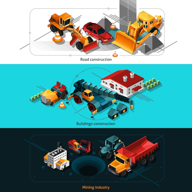 Isometric construction machines banners Free Vector