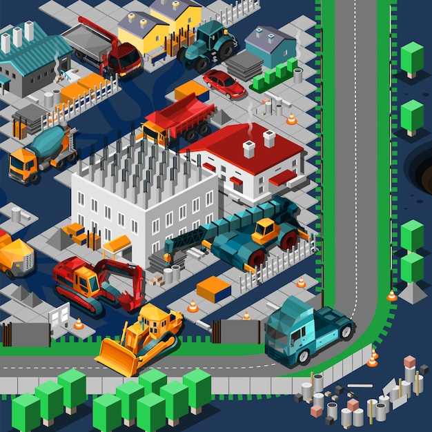 Isometric construction machines concept Free Vector
