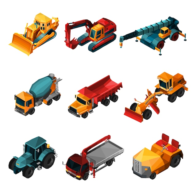 Isometric construction machines Free Vector
