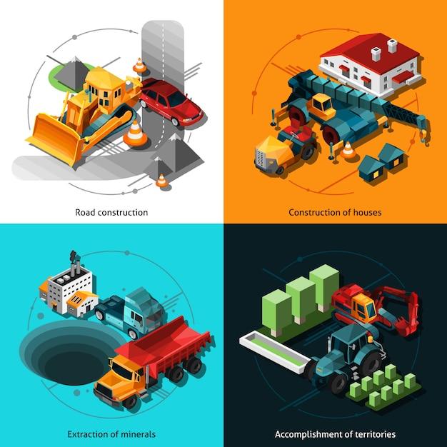 Isometric construction machines Free Vector