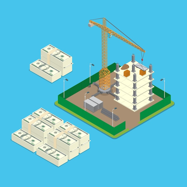 Isometric construction site land price value investment business concept Free Vector