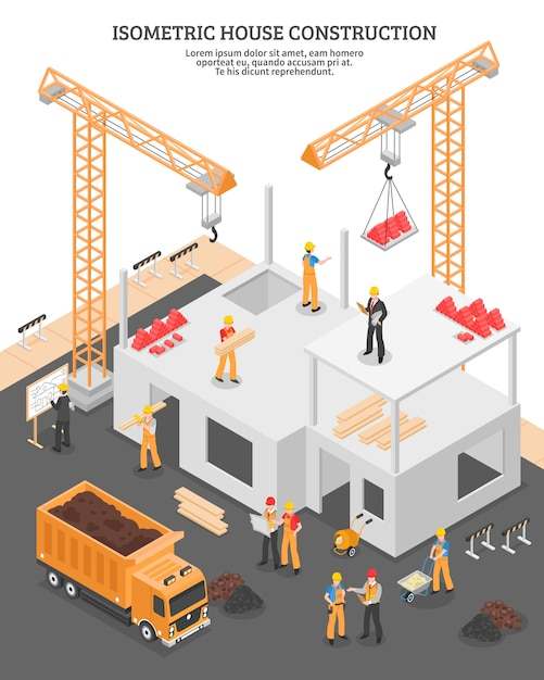 Isometric construction vertical composition Free Vector
