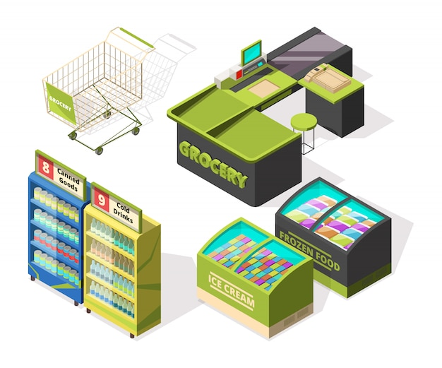 Isometric constructions for supermarket or warehouse. shopping cart, terminal and food counters Premium Vector