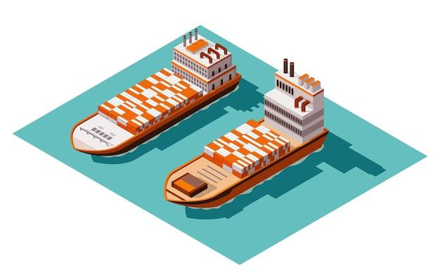 Изометрические контейнеровоз грузовой корабль иллюстрации дизайн Premium векторы
