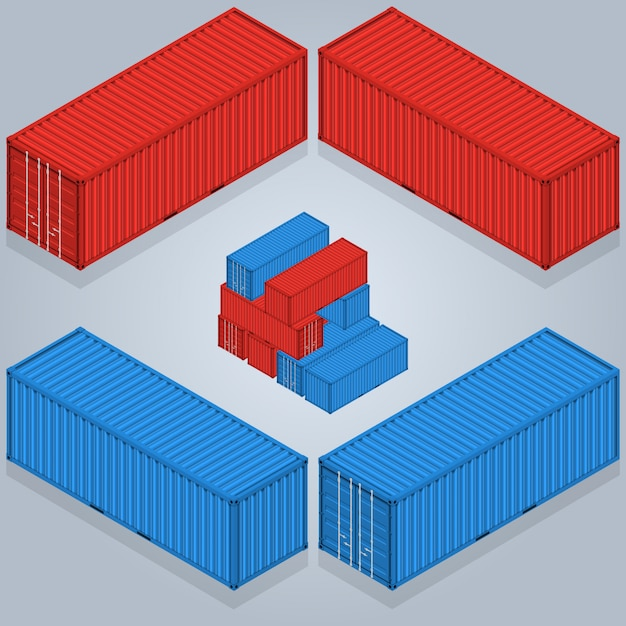 Isometric container delivery. a vector illustration of industrial cargo crates isometric industrial crates. Premium Vector
