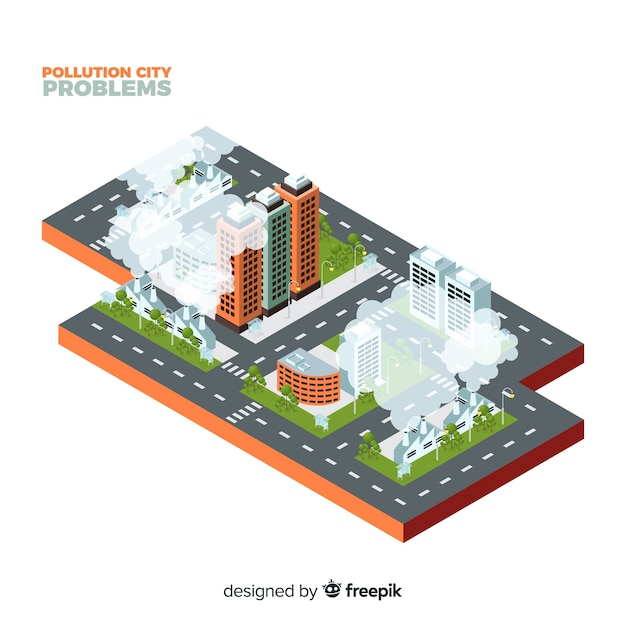 Isometric contaminated city concept background Free Vector