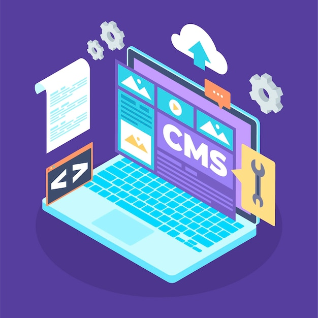 Isometric content management system illustration Free Vector
