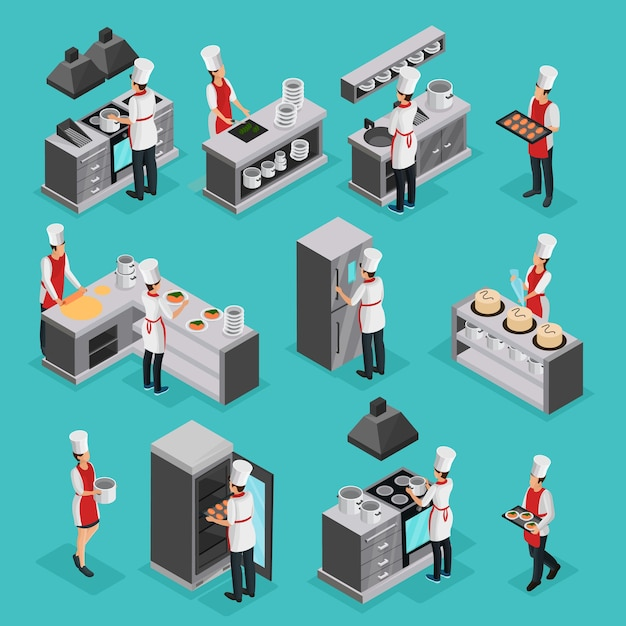 Isometric cooking process elements set with professional cooks preparing different dishes and working in restaurant isolated Free Vector