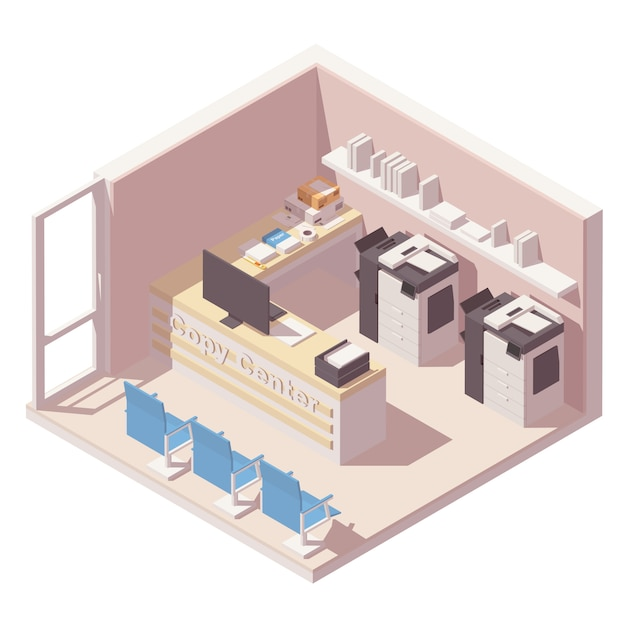 Isometric copy center office room with two copy machines, counter, folders with papers and others office equipment Premium Vector