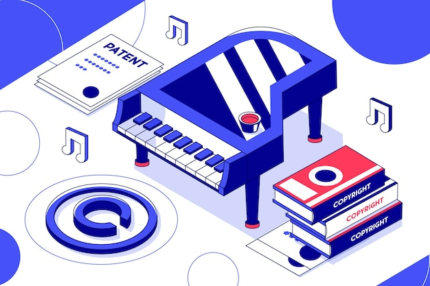 Concetto di copyright isometrico con pianoforte Vettore gratuito