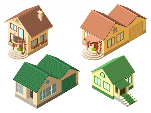 Isometric cottage country house set isolated on white illustration Premium Vector