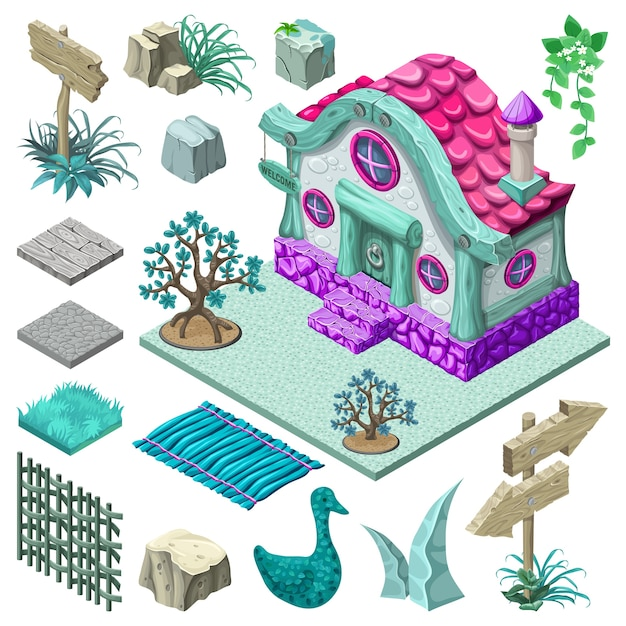 Isometric cottage and elements design. Free Vector