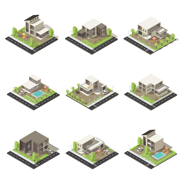 Isometric cottages and mansions set Free Vector