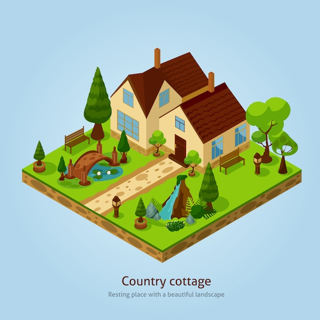 Isometric country cottage landscape design concept Free Vector