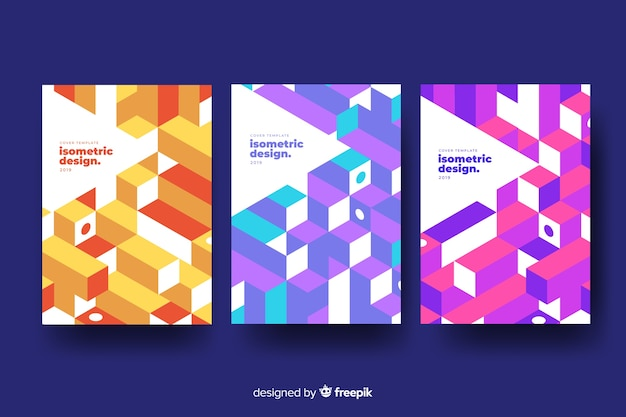 Isometric cover collection Free Vector
