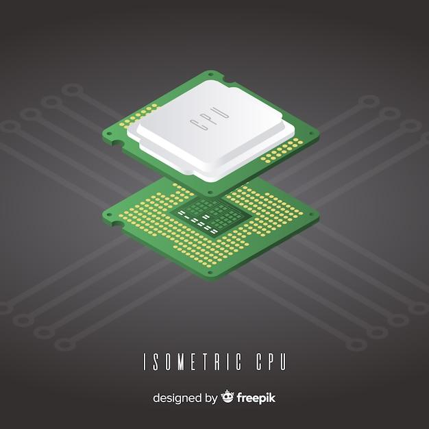 Isometric cpu Free Vector