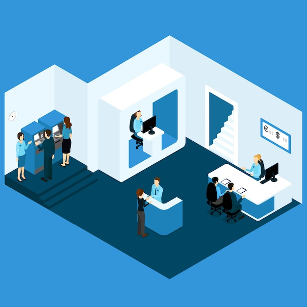 Isometric credit bank composition Free Vector