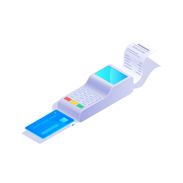 Isometric credit card terminal icon, pos terminal with credit card on white background  illustration. Premium Vector