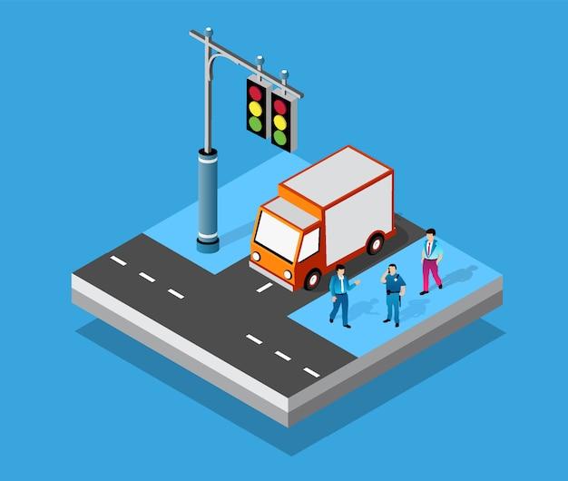 Изометрические перекрестки пересечения улиц автомобильных дорог Premium векторы
