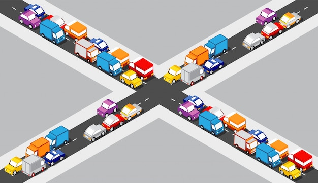 Isometric crossroads intersection Premium Vector