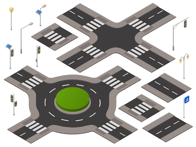 Isometric crossroads set. 3d highway\ transportation infrastructure, urban landscape