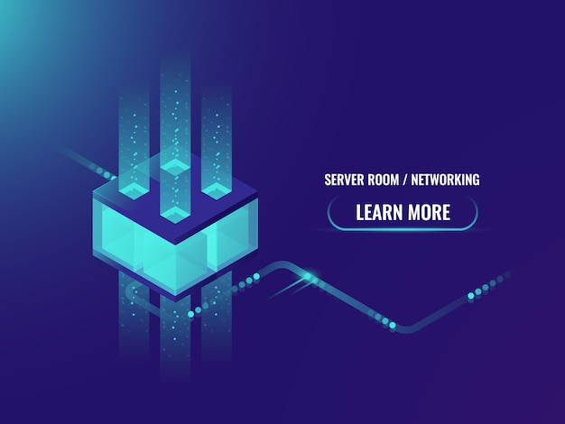 Isometric cryptocurrency and blockchain concept banner, processing of big data Free Vector