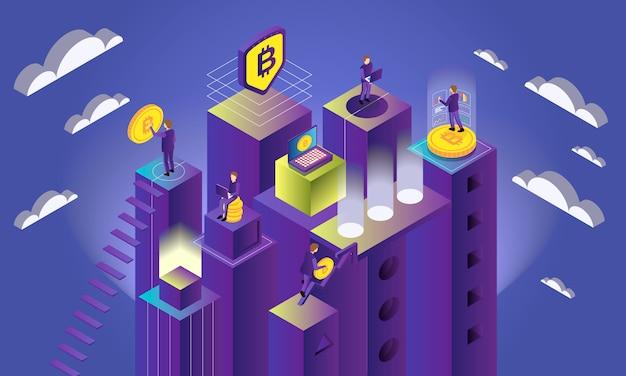 Il concetto isometrico di criptovaluta con bitcoin e la gente estrae l'illustrazione di vettore 3d Vettore gratuito