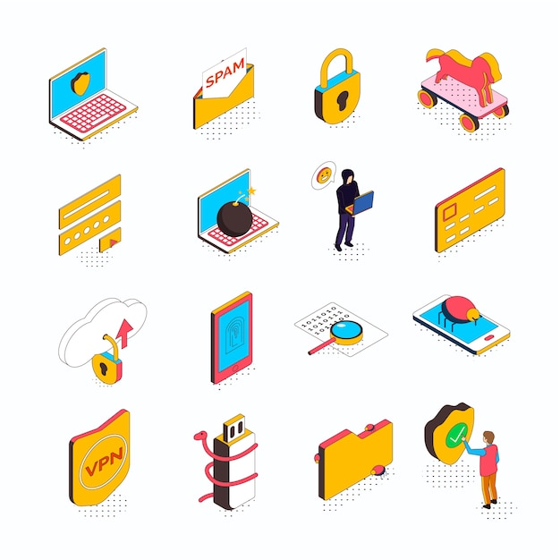 Isometric cyber security collection of sixteen isolated icons with conceptual computer pictograms smart devices and people Free Vector