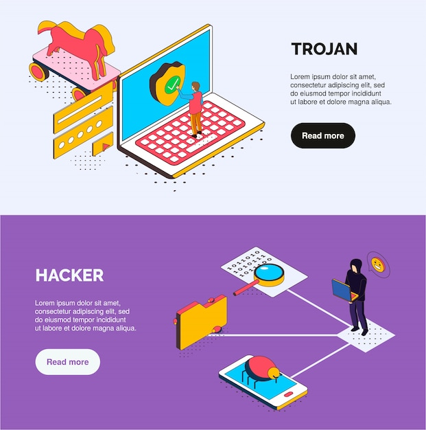 Isometric cyber security horiznotal banners with trojan and hacker icons human characters bugs and clickable buttons Free Vector