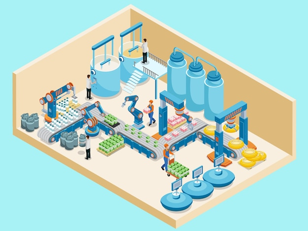 Isometric dairy plant template with workers automated production line containers for milk products m