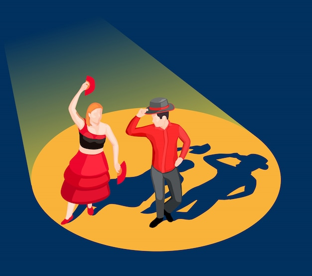 Isometric dancing people illustration Free Vector