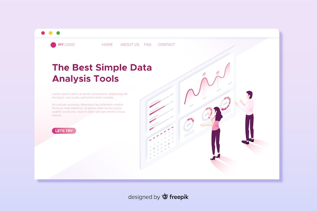 Isometric data analysis landing page Free Vector