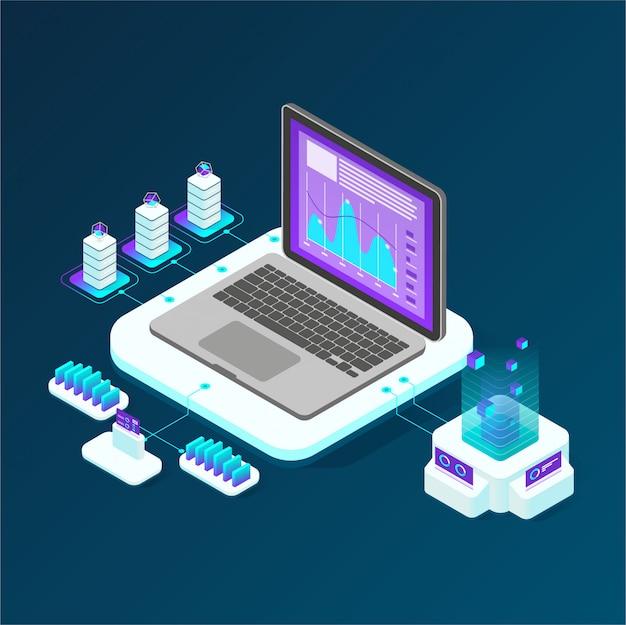 Isometric data analysis Premium Vector