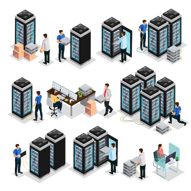 Сбор изометрического центра обработки данных с инженерами ремонтирует и обслуживает изолированное оборудование серверов хостинга Бесплатные векторы