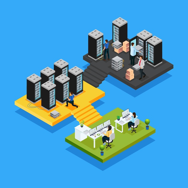 Isometric data center concept with women working in office and engineers repair and maintain hosting servers isolated Free Vector