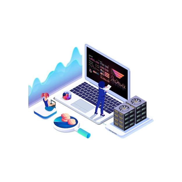 アイソメトリックデータ収集、分析グラフ、オンラインコンピューティング。 Premiumベクター